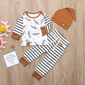 Baby kids designer clothes girls Feather T shirt Tops Striped Pants Clothing Outfits 3pcs Set brown kids designer clothes boys BY1447