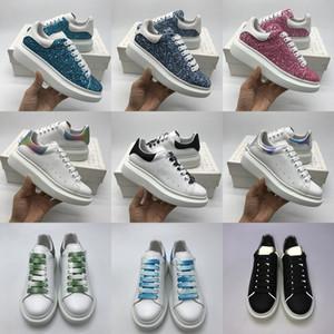 Boda del ante de las mujeres zapatos de diseño de gran tamaño zapatillas deportivas blancas de lujo para hombre de la piel de becerro plataforma plana fiesta informal Deporte de plata del brillo