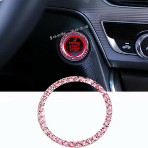 Diamond Ring Pink Button Argento Blu One Key Engine Start Stop di accensione per 2018-2019