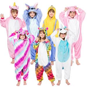 Erkek Kız Kigurumi Çocuk pijamalar Unicorn Pijama Fanila Çocuklar Stich Unicornio Pijamas Seti Hayvan Kış Onesies Y200704