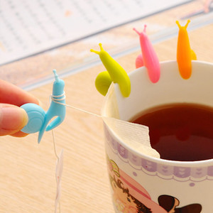 Cute Snail Squirrel Shape Silicone Tea Bag Holder Cup Mug Tea Bag Clip Candy Colors Gift Set Good Teas Tools Tea Infuser 5 Colors DBC DH2561