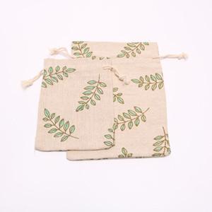 Grün-Blätter-Entwurf Baumwollbeutel mit Kordelzug Geschenk-Beutel Muslin Armband Schmuck Verpackung Taschen Beutel schnelles Verschiffen NO422