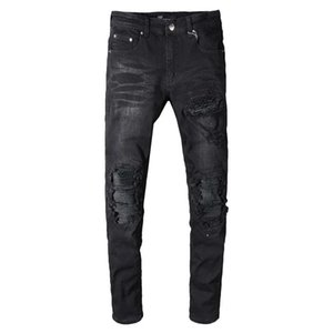 Fashion Men Distressed Leather Ripped Patches Jeans Black Color Patched Destroyed Robin Jeans Men Elastic Broken Pants Hip Hop Skinny Jeans