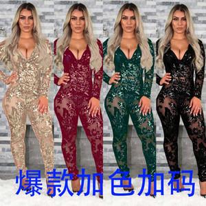Slim Fit Beads Perspective Глубокий V Комбинезон Ночной клуб одежда Sexy длинным рукавом игровая одежда