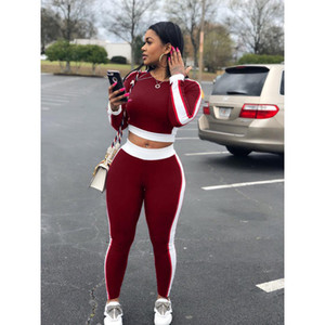 Mulheres Two Piece Outfits Two-piece Sports Suit para Casual e Moda Feminina Sexy Fitness 2 Peça Set Mulher Costura