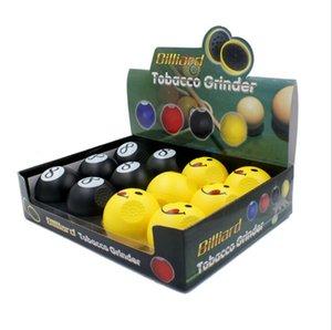 Sorriso preto 8 bola de mesa tipo de cigarro de plástico mão moedor de tabaco ferramenta de tubulação de acessórios 2 camada com caixa de exibição