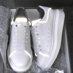 2019 Fluorescent Luminous Светоотражающие 3M белый Повседневная обувь Платформа кроссовки Мужчины Женщины Кожа Комфорт Отдых Ladies Ночной Box Квитанция