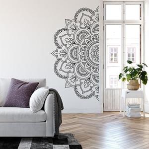 Media Mandala pegatinas de pared decoraciones para el hogar sala de estar estructura simétrica flores decoración de la pared calcomanías dormitorio Boho A419