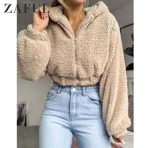 ZAFUL Hooded Zip Up Fluffy Teddy rivestimento delle donne Faux Wide-Waisted shearling chiusura lampo del rivestimento sveglio di spalla Streetwear goccia Top 2019