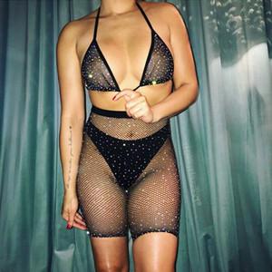Body de malla nueva de las mujeres de la ropa interior Mallas Ropa de dormir Cuerpo de caña alta sujetador de encaje + cortocircuitos fijados