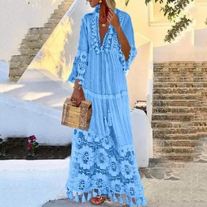 Autumn Beach Maxi Dress Fashion Casual Bohemian Large Size Deep V-Neck Solid Color Lace Tassel Loose Long Dresses Robe