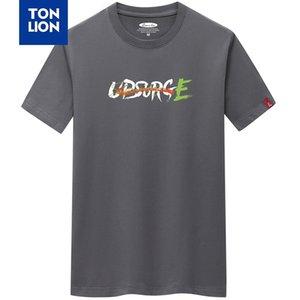 TONLION Marka 2020 Yeni Erkek Short Sleeve Tshirts Yaz Moda Yuvarlak Yaka Harf Baskılı Pamuk tişörtleri Artı boyutu S-6XL