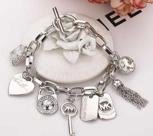 Kalp Kilidi Gümüş Altın Kaplama Kolye Takı Charm Bilezikler Bileklik Takı Erkekler Kadınlara ile Aşk Anahtar Kristal Bilezikler
