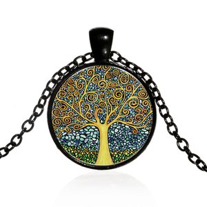 Creative Tree Of Life Glass Cabochon Statement Necklace & Pendant Jewelry Vintage Charm Chain Choker Steampunk Jewelry Gift for Women
