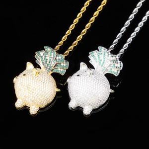 Новый Модельер Luxury 18K позолоченный Iced Out CZ Цирконий Прекрасный Pig Pedant ожерелье из белого золота Полный Алмазные Hip Hop Jewelry