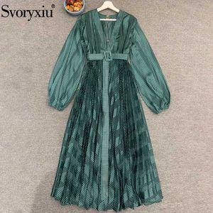 Svoryxiu Runway Women Summer Green Plaid Vintage Long Party Dresses Ladies V-Neck With Belt Elegant Pleated Dress