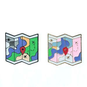 Mappa Piega Spilla delicata Aeroplano Destinazione del sole Destinazione rosa Blu verde Pin Bianco Piccolo regalo dei cartoni animati per ragazze studenti