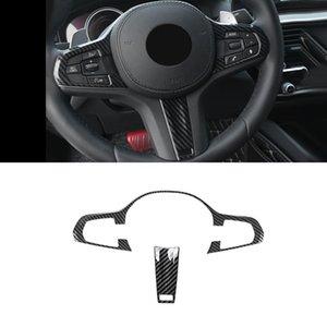 Автоаксессуары Кнопка крышки рулевого колеса Отделка Рама наклейка ABS Carbon интерьер для BMW 5-й серии G30 2017-2020
