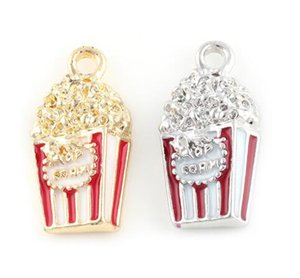20PCS lot 24x12mm (Gold,Silver Color) Popcorn Pendant Charms Fit For Glass Magnetic Memory Floating Locket