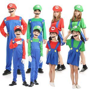 Новый Супер Марио Косплей костюмы Дети Funy Луиджи Bros Водопроводчик Пурим мультфильм Fancy бальное платье семьи Christmas Party костюм