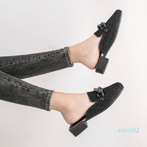 Shoes Woman Mules Metal Decoration Square Heels Slippers Closed Toe Slides Shallow Plus Size Shoes Zapatos Mujer Black Gray ct2