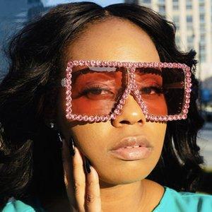 Oversized Praça Diamante Sunglasses Mulheres Yellow Big Frames copos de cristal de uma peça Feminino Sun Óculos Rhinestone Óculos