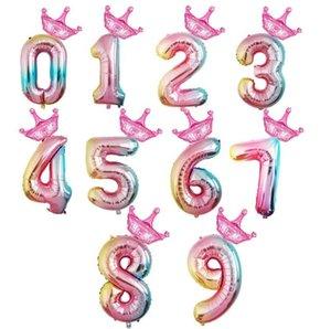 32 pouces décorations de fête d'anniversaire de ballons numéro d'anniversaire latex Ballons hélium articles de fête Mode Top qualité Ballons Drop Shipping