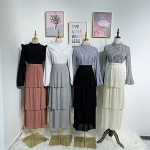 Wepbel Plus Size Saia de cintura alta Refrescante muçulmana saia plissada Verão Mulheres Moda Sólidos Cor solto Saias