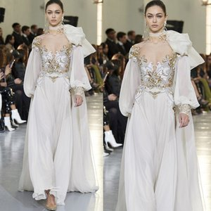 Elie Saab Evening Dresses Illusion Jewel Neck Long Sleeve Chiffon Prom Gowns Sequins Appliques Runway Fashion Dress