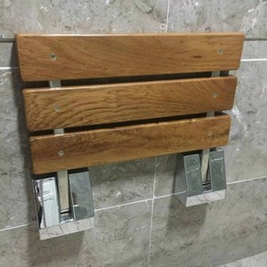 """15-3 / 4"""" Современная Твердая Тиковое дерево складной скамья душ сиденье Chrome Настенный душ Bench ванна сидений Сложите Spa Bench"""