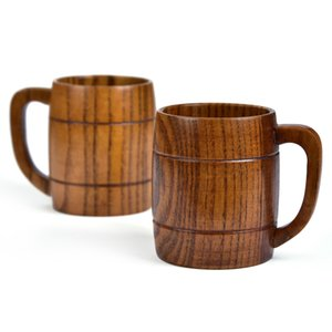 Large Capacity Beer Cup with Handle Wood Milk Cup Wooden Coffee Tea Travel Wine Beer Water Cup Drinkware LX0929