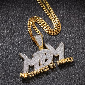 Zircone Lettera MBM Iced Out Ciondolo Collana Mens Collana Gioielli Mens 14K Placcato oro Catena con diamanti Bling Monili hip-hop con collegamento cubano da 24 pollici