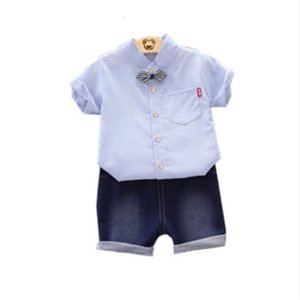 Summer Children Clothing Tracksuit Baby Boy Girl Casual T-Shirt Denim Shorts 2Pcs Set Toddler Fashion Cotton Kids Clothes Suits