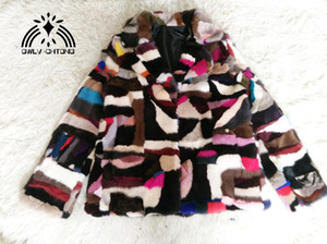 Natural real genuine coat Women's Turn-down collar English collar Fashion All-match multi-color colorfull jacket