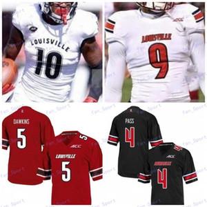 Пользовательские Луисвилл Кардинал Футбол Черный Красный Белый # 3 Micale Cunningham 6 Evan Конли 10 Javian Hawkins 8 Lamar Джексон Джерси NCAA 150-й