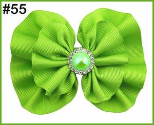 el envío libre 150pcs 5-5.5 '' pelo arcos redondos diamantes de imitación de pelo niña arquea zapatos de moda los accesorios grandes lazos pelo de la perla