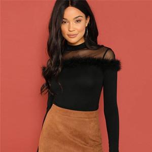 Women Clothes T Shirt Women Black Mesh Sheer Lace Yoke Faux Fur Korean Winter T Shirt Long Sleeve Shirt Sweet Ladies Tee
