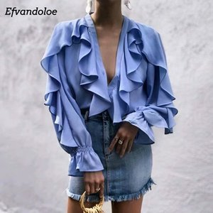 Efvandoloe Элегантные женские блузки с рюшами и V-образным вырезом с длинным рукавом Модные женские топы 2019 летней рубашки