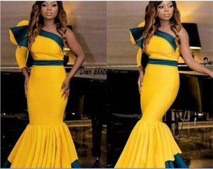 African Mermaid Prom Dresses One Shoulder Ruffles Satin Two Colors Evening Dresses Formal Women Wear Pleats Floor Length homecoming dresses