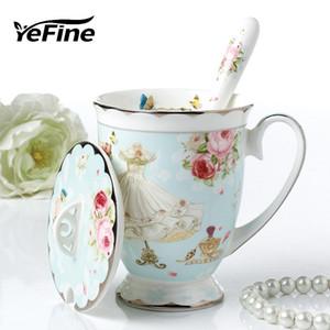 도매 고급 뼈 중국 차 찻잔 도자기 세라믹 커피 잔 뚜껑 및 스테인레스 숟가락 마시는 컵 Dropshipping를
