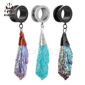 KUBOOZ Screw Dangle Ear Plugs Piercing Tunnels Fashion Body Jewelry Steel Crystal Eardrop Earrings Gauges Expander Women Gift