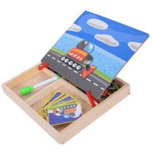 Magnetic Fun Jigsaw Bambini Legno Puzzle Board Box Pezzi Giochi Fumetto educativo Disegno Giocattoli per bambini Per ragazze Ragazzi, Tr