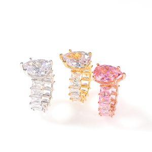 Diseñador completa Eternidad Bling anillos de boda helados Big Band gotas de agua para las mujeres del color del oro de plata CZ pavimentadas joyas simples regalos de compromiso