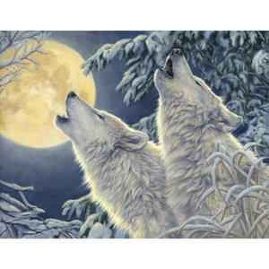 Canvas wall art Moonlight modern wild wolf oil paintings for family room Hand painted Landcapes