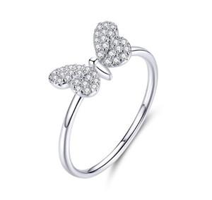 Yeni 2020 Takı SCR621 yüzük Kelebek Işık 925 Gümüş Lüks Kristal Zirkon Wings Halka Kadınlar Trendy için Kadın Halkalar