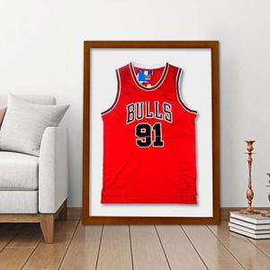 80x60cm Jersey Display Cadre acrylique mur MDF Cadres en bois Jersey Hanging Cadre pour Hall d'entrée Chambre Salon Chambre Décoration murale