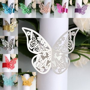 New 50Pcs Butterfly Napkin Rings Decor New Year hollow Paper Weddings Party Serviette Table Decoration Favor for Christmas