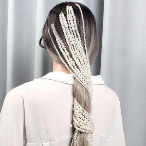 Simüle İnci Uzun Püskül Kafa Daha Zincirler Gelin Düğün Saç Aksesuarları Saç Klip Kadınlar Partisi Şapkalar Saç Takı