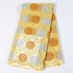 Nouvelle arrivée tissu de dentelle africain jaune pierres brodées tissus de tulle en dentelle net français de soie de lait pour les robes de mariage aso EBI BF0043