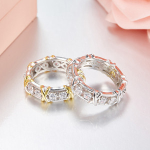 X 925 Sterling Silver Rings For Women Full Big Cubic Zirconia Crystal Finger Rings Wedding Luxury Jewelry